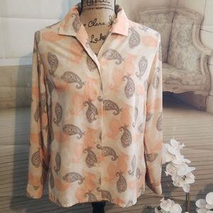 Covington Petite Long Sleeve Paisley Blouse 12P